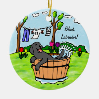 Black Labrador Puppy Pool Cartoon Double-Sided Ceramic Round Christmas Ornament