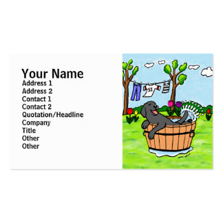 Black Labrador Puppy Pool Cartoon Double-Sided Standard Business Cards (Pack Of 100)