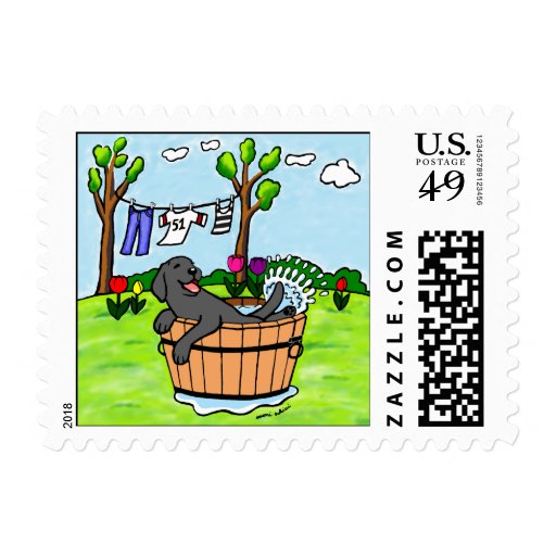 Black Labrador Puppy Pool Cartoon Stamp