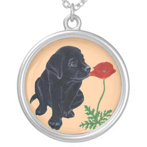 Black Labrador Puppy & Poppy Painting Round Pendant Necklace