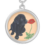 Black Labrador Puppy & Poppy Painting Pendants