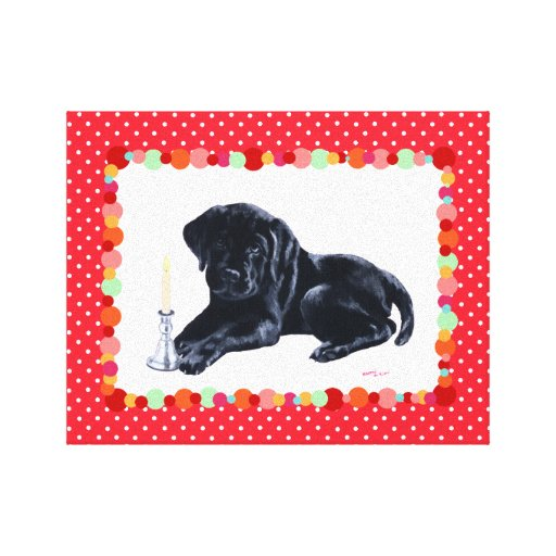 Black Labrador Puppy Prayer Painting Canvas Print