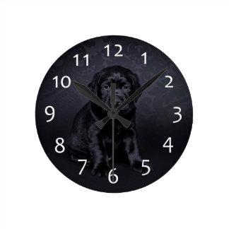 Black Labrador puppy Round Clock