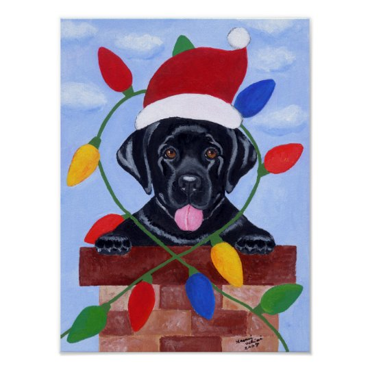 Black Labrador Puppy Santa Artwork Poster