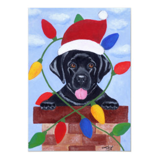 Black Labrador Puppy Santa Christmas Card