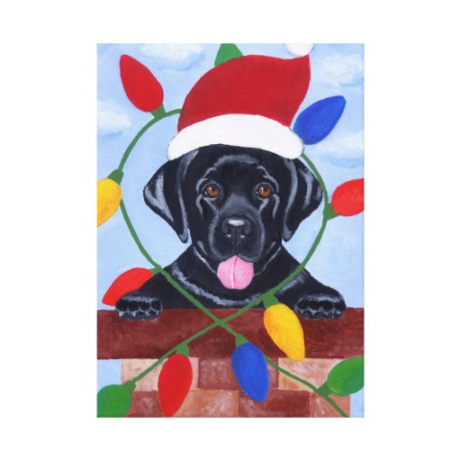 Black Labrador Puppy Santa Christmas Painting Canvas Print