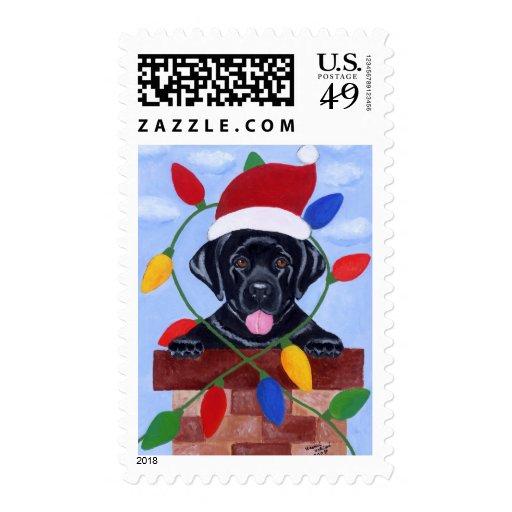 Black Labrador Puppy Santa Christmas Postage