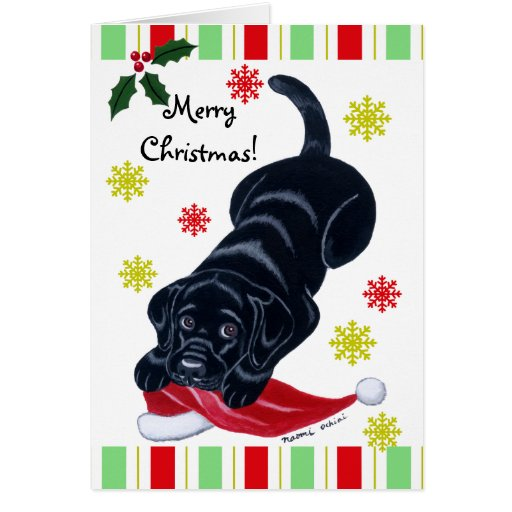 Black Labrador Puppy & Santa Hat Christmas Card