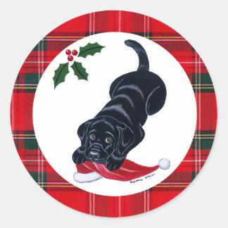 Black Labrador Puppy & Santa Hat Christmas Classic Round Sticker