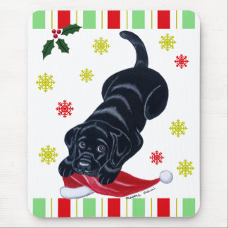 Black Labrador Puppy & Santa Hat Christmas Mouse Pad