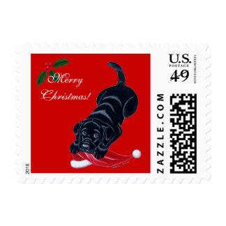 Black Labrador Puppy & Santa Hat Christmas Postage