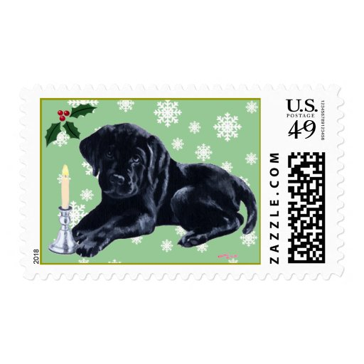 Black Labrador Puppy & Santa Hat Christmas Stamps