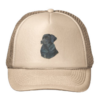 black labrador realist dog portrait art hat