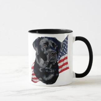 Black Labrador Retriever and Flag Mug
