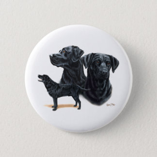 Black Labrador Retriever Button