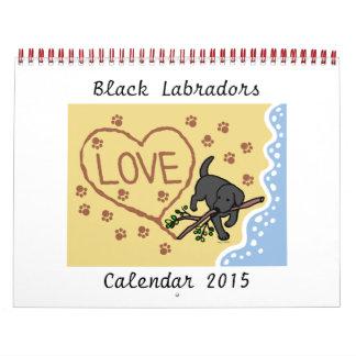 Black Labrador Retriever Cartoon Calendar 2015