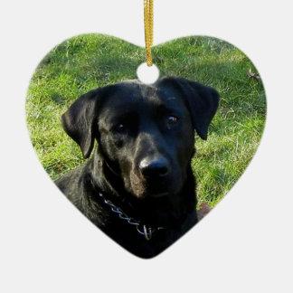 Black Labrador Retriever Christmas Ornament Heart