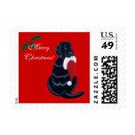 Black Labrador Retriever Christmas Postage