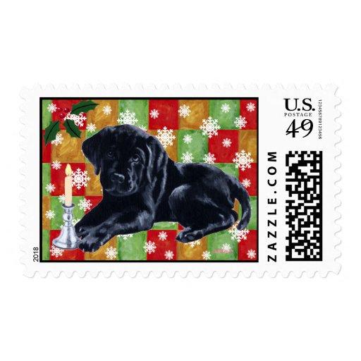 Black Labrador Retriever Christmas Stamp