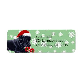 Black Labrador Retriever Christmas Snowflake Label