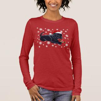 Black Labrador Retriever Christmas Snowflake Long Sleeve T-Shirt