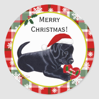 Black Labrador Retriever Christmas Snowflake Stickers