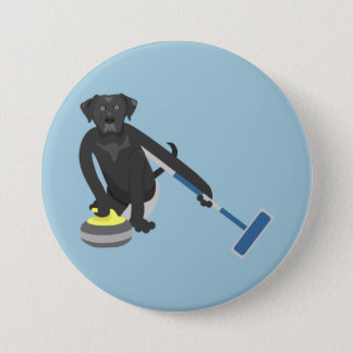 Black Labrador Retriever Curling Button