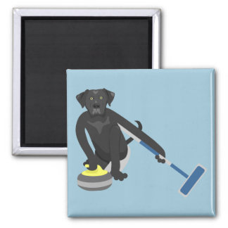 Black Labrador Retriever Curling Magnet