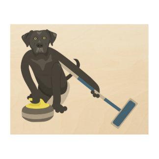 Black Labrador Retriever Curling Wood Wall Art
