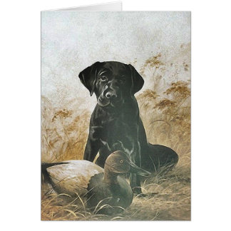 BLACK LABRADOR RETRIEVER DOG & DECOY DUCK ~ CARD