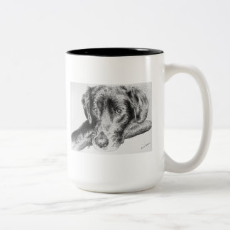 Black Labrador Retriever from Pen and Ink Drawing Two-Tone Coffee Mug