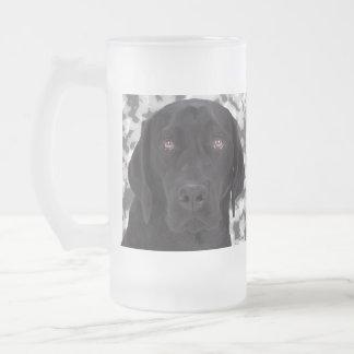 Black Labrador Retriever Frosted Glass Beer Mug