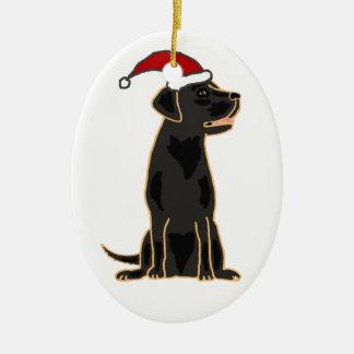 Black Labrador Retriever in Santa Hat Ceramic Ornament