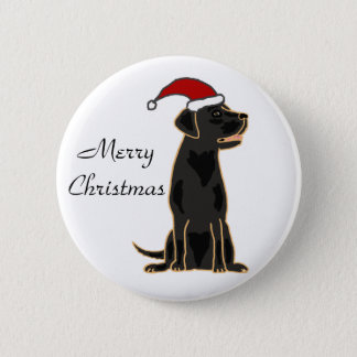 Black Labrador Retriever in Santa Hat Pinback Button