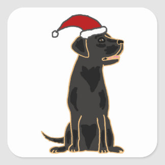 Black Labrador Retriever in Santa Hat Square Sticker