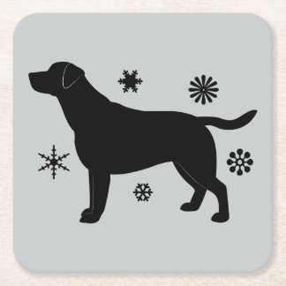Black Labrador Retriever in the Snow Square Paper Coaster