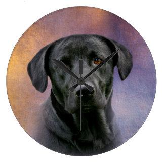 Black Labrador Retriever Large Clock