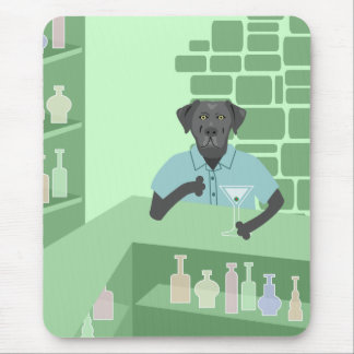 Black Labrador Retriever Martini Bar Mouse Pad