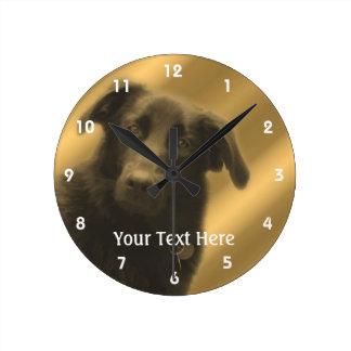 Black Labrador Retriever Mix Dog Round Wall Clocks