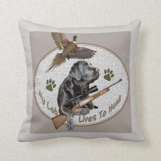 Black Labrador Retriever Pheasant Hunt Throw Pillow