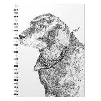 Black Labrador Retriever Pointillism Spiral Notebook