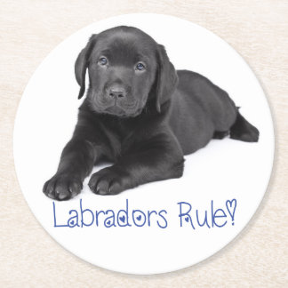 Black Labrador Retriever Puppy Dog Blue Love Round Paper Coaster