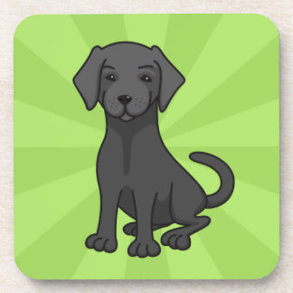 Black labrador retriever puppy dog cartoon, green beverage coaster