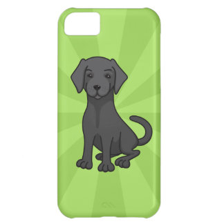 Black labrador retriever puppy dog cartoon, green iPhone 5C cover