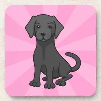 Black labrador retriever puppy dog cartoon, pink drink coaster