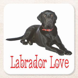 Black Labrador Retriever Puppy Dog Red Love Square Paper Coaster