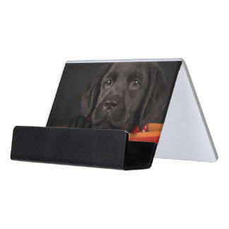 Black labrador retriever puppy in a basket desk business card holder