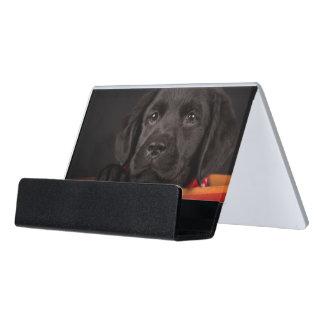Black labrador retriever puppy in a basket desk business card holder