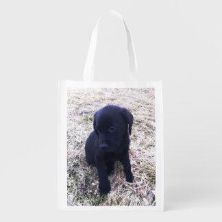 Black Labrador Retriever Puppy Reusable Bag Reusable Grocery Bags