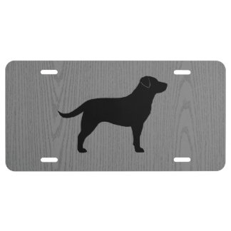 Black Labrador Retriever Silhouette License Plate